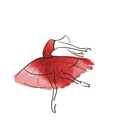 rehearsal: Vector hand drawing ballerina figure Illustration