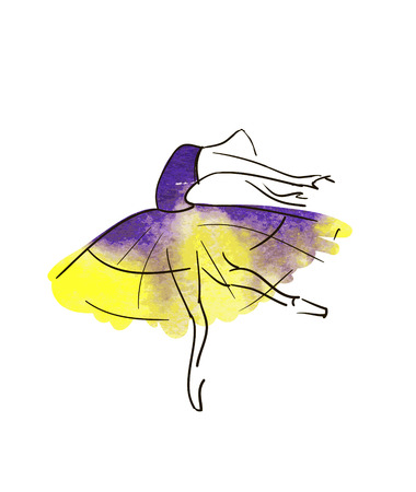 Vector hand drawing ballerina figure Illustration