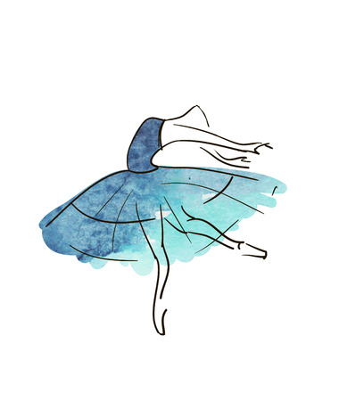 ballet ni�as: Figura bailarina dibujo vectorial mano