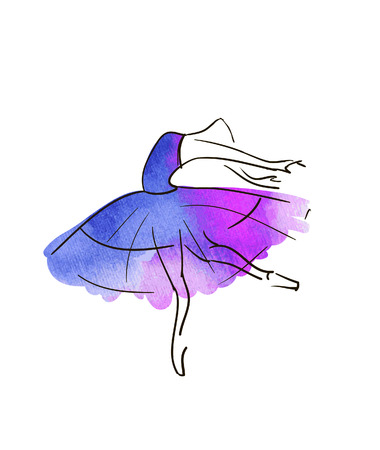 Vector hand drawing ballerina figure Çizim