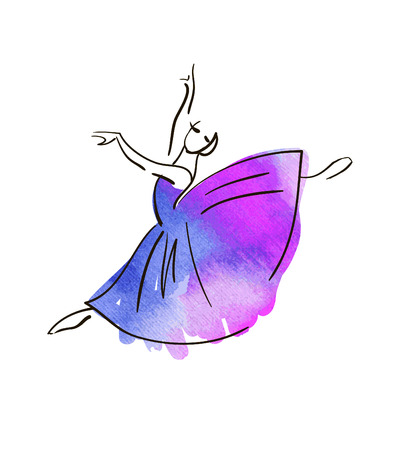 Vektor-Hand-Zeichnung Ballerina Figur