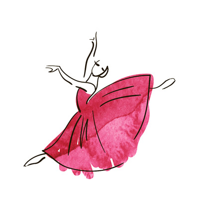tanzen cartoon: Vektor-Hand-Zeichnung Ballerina Figur