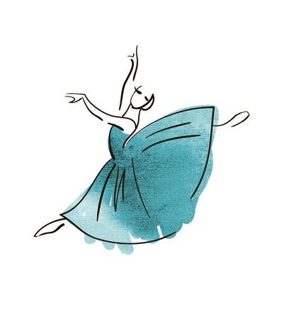 Figura bailarina dibujo vectorial mano