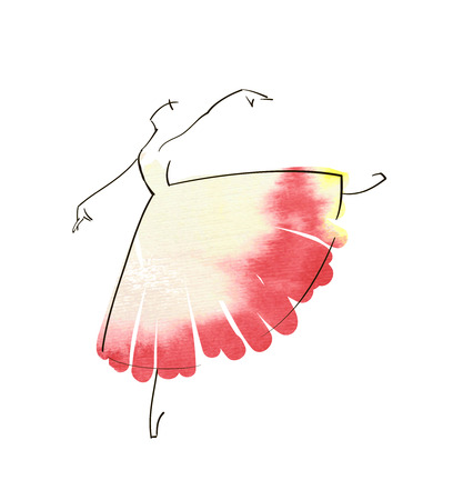 ballet tutu: Vector hand drawing ballerina figure Illustration