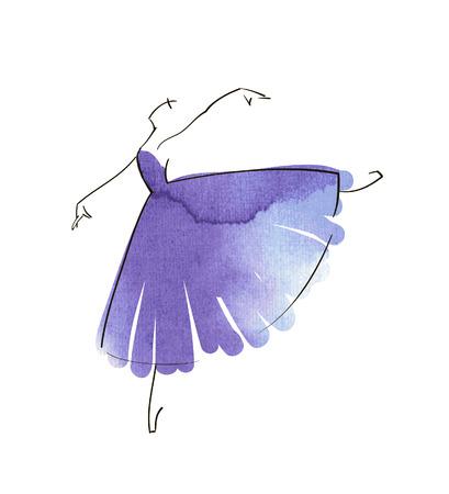 ballet tutu: Vector hand drawing ballerina figure Illustration