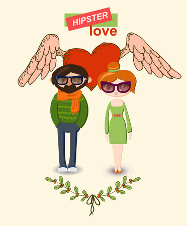woman in love: Vintage hand-drawn hipster man and woman Love decorative elements set Illustration
