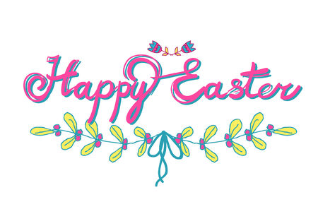 HAPPY EASTER hand lettering - handmade calligraphy; scalable and editable vector illustration Vector