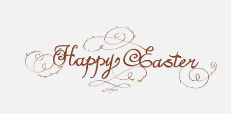 Ostern: HAPPY EASTER hand lettering - handmade calligraphy; scalable and editable vector illustration