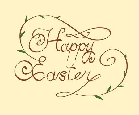 HAPPY EASTER hand lettering - handmade calligraphy, scalable and editable illustration Vector