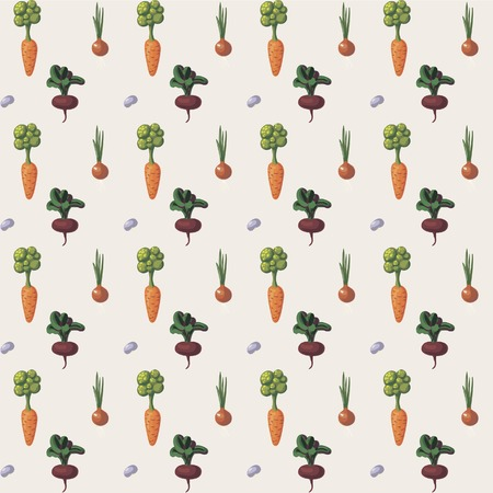 bedrock: Illustration with growing vegetables - beetroot, potato, carrot, garlic and onion