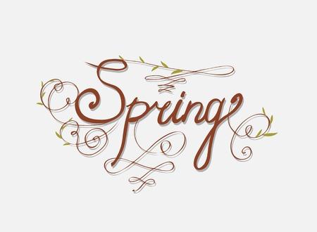 seasons greetings: SALUTI mano lettering PRIMAVERA DELLA STAGIONE Vettoriali