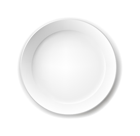 Empty white plate. Illustration on white background Vector