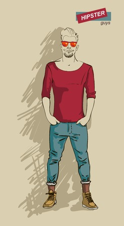 shaved head: man in fashion clothes isolated on light background vector illustration eps 10