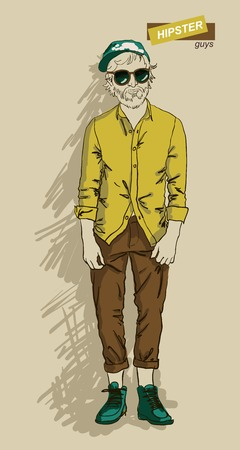 hair style collection: man in fashion clothes isolated on light background vector illustration eps 10