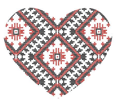 vector background of Ukrainian national ornaments heart, love Vector