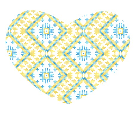 vector background of Ukrainian national ornaments heart, love Vector