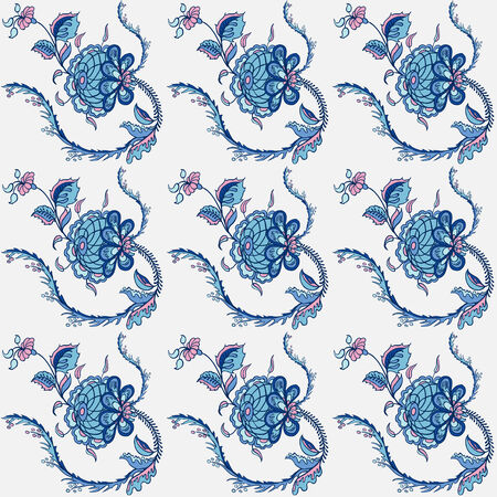 Elegance Seamless pattern with flowers ornament, vector floral illustration in vintage style Vector