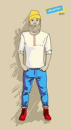 shaved head: Ukrainian man in fashion clothes isolated on light background  Illustration