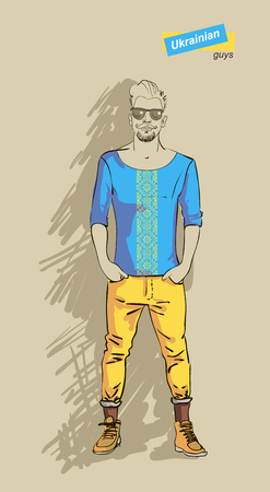 Ukrainian man in fashion clothes isolated on light background  Vector
