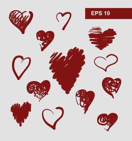 beloved: vector hearts set for wedding and valentine design Illustration