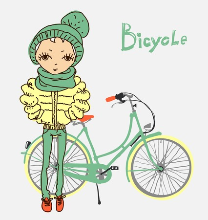 vector illustration of hipster girl with bicycle Vector