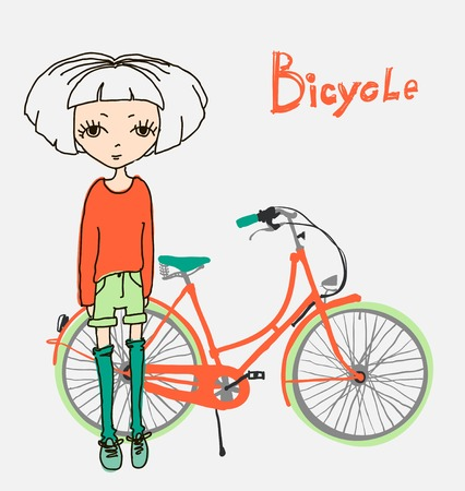 vector illustration of hipster girl with bicycle