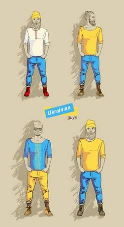 set Ukrainian man in fashion clothes isolated   Vector