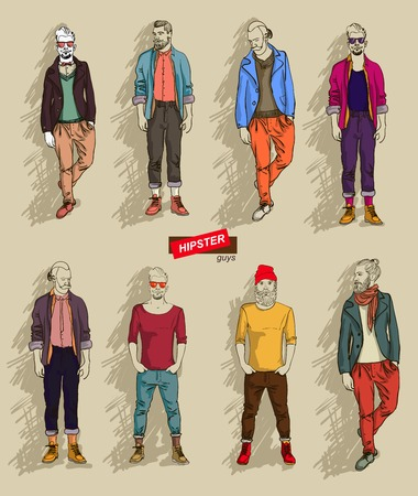 man in fashion clothes isolated on light background set vector illustration eps 10 Illustration