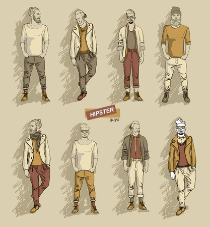 hair style collection: man in fashion clothes isolated on light background set vector illustration eps 10 Illustration