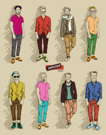 man in fashion clothes isolated on light background   Illustration