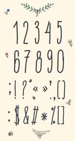 sans serif: Hand drawn sketch  numbers, digits, symbols set. Vector illustration. Illustration