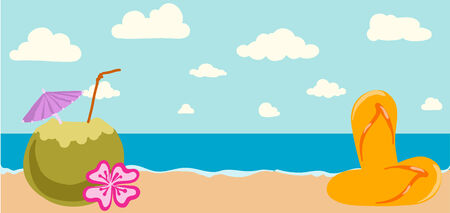 Vector illustration of Summer tropical ocean banner Vector