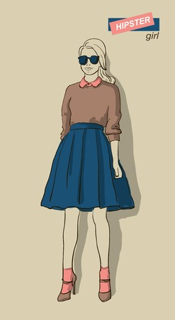 cool girl: vector illustration of beautiful fashion girls hipsters Illustration