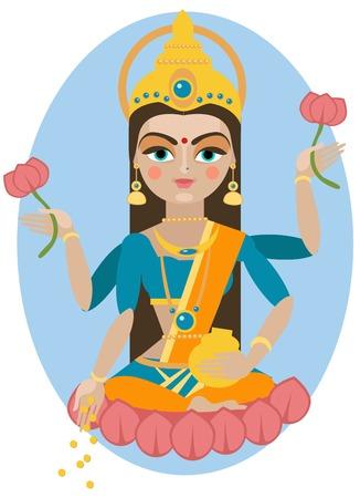 vector illustration of Hindu deity mother Lakshmi