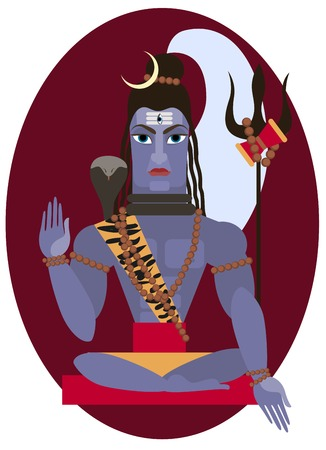 vector illustration of Hindu deity lord Shiva Vector