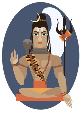 indian light: vector illustration of Hindu deity lord Shiva