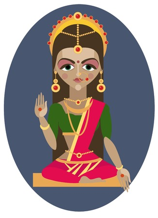 vector illustration of Hindu deity mother Parvati Vector