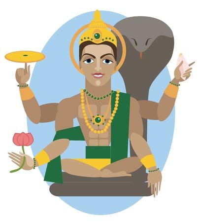 ヒンドゥー教の神の主ヴィシュヌのベクトル イラスト  イラスト・ベクター素材