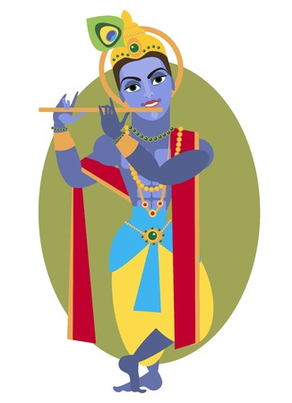 asian and indian ethnicities: vector illustration of Hindu deity Lord Krishna flute Illustration