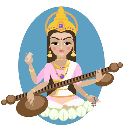 devi: Hindu Goddess Saraswati.  Illustration