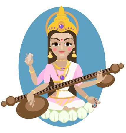 Hindu Goddess Saraswati.  Illustration