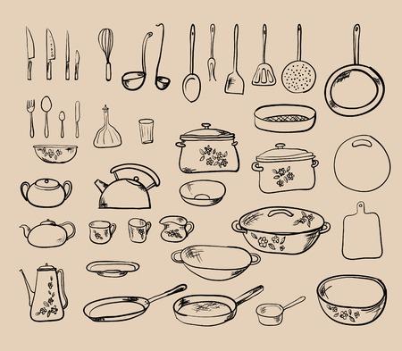 キッチン ツール コレクション - ベクトル シルエット