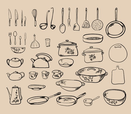 kitchen tool: Kitchen tool collection - vector silhouette
