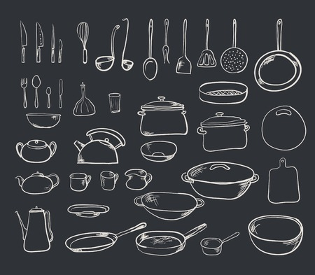 Kitchen tool collection - vector silhouette