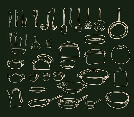 Kitchen tool collection - vector silhouette Vector