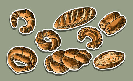 bakery products: Illustration of bread products, snack, sweet, vector,