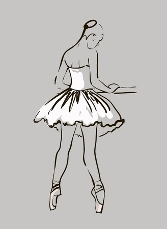 vector sketch of girl s ballerina standing in a pose