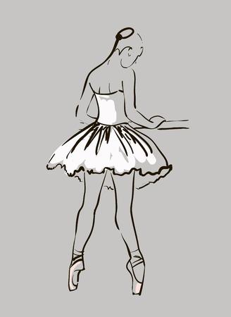 vector sketch of girl s ballerina standing in a pose Vector