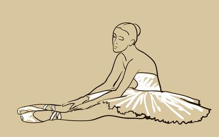 vector sketch of girls ballerina standing in a pose
