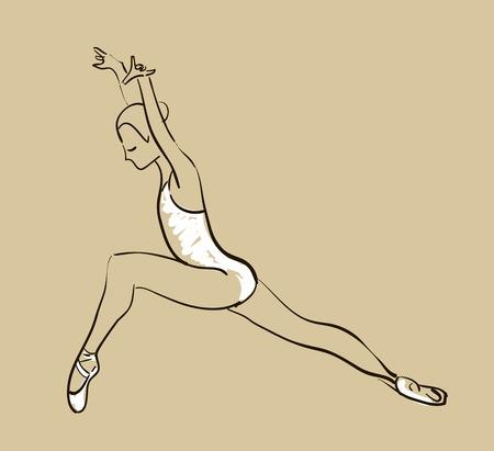 vector sketch of girls ballerina standing in a pose Vector